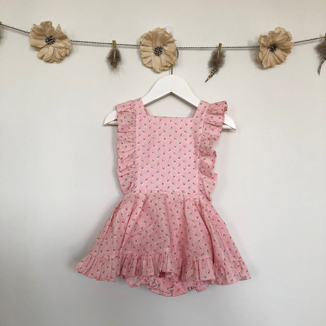 vintage tiny rose pinafore - 18/24