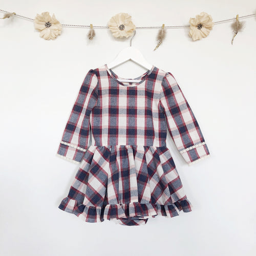 winter plaid 3/4 sleeve dress