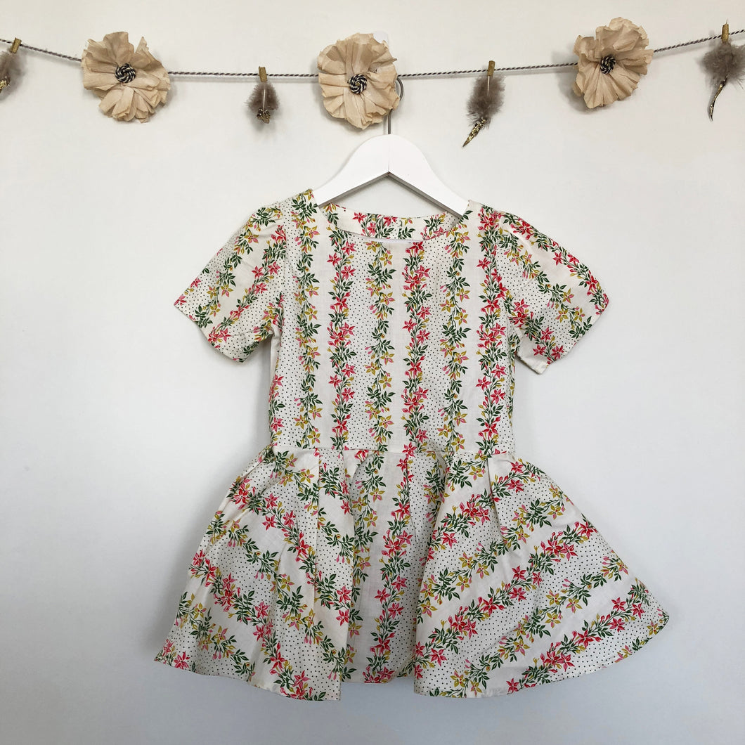 vintage tropical floral dress - 4t