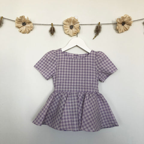 vintage lavender gingham heart dress - 18/24