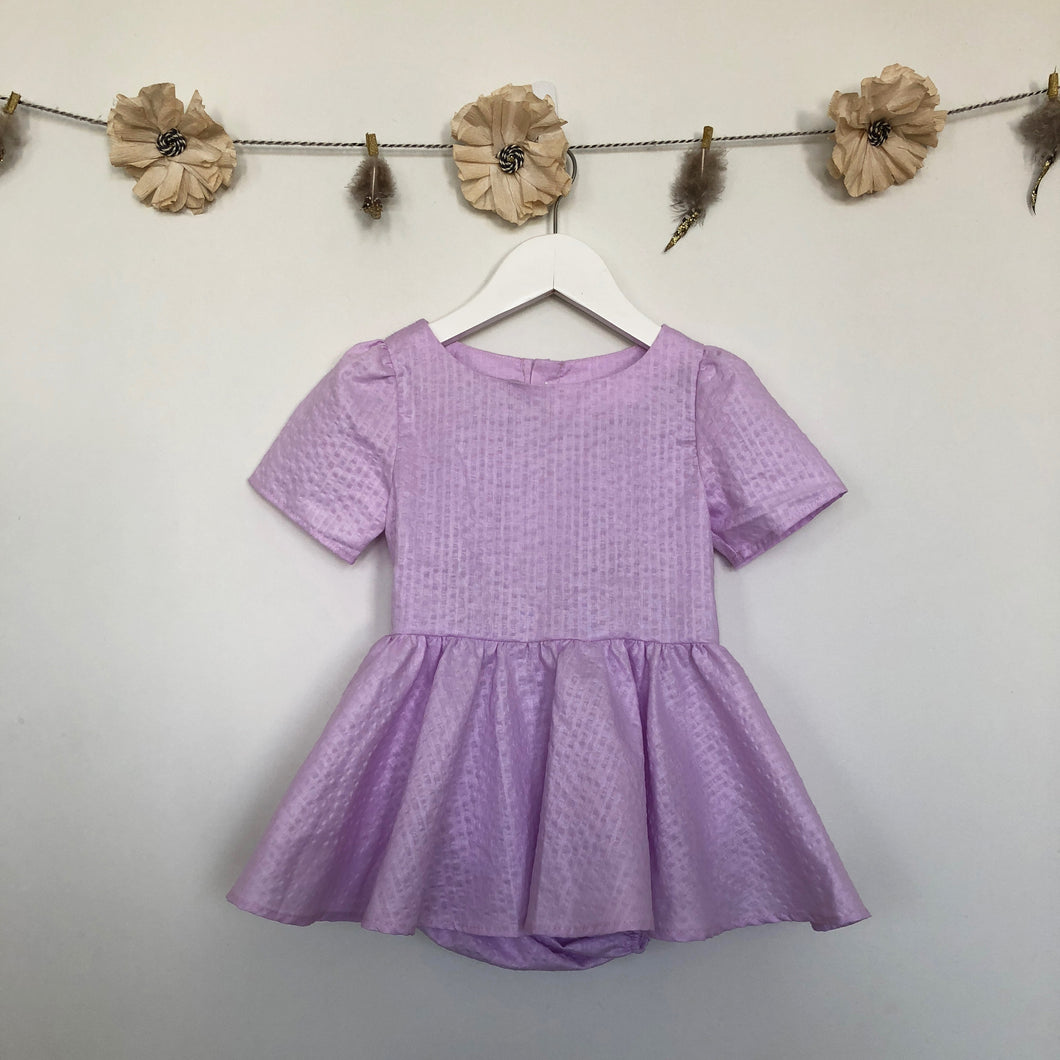 vintage lavender seersucker dress - 2 x 2t