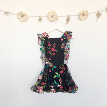 black embroidered floral pinafore