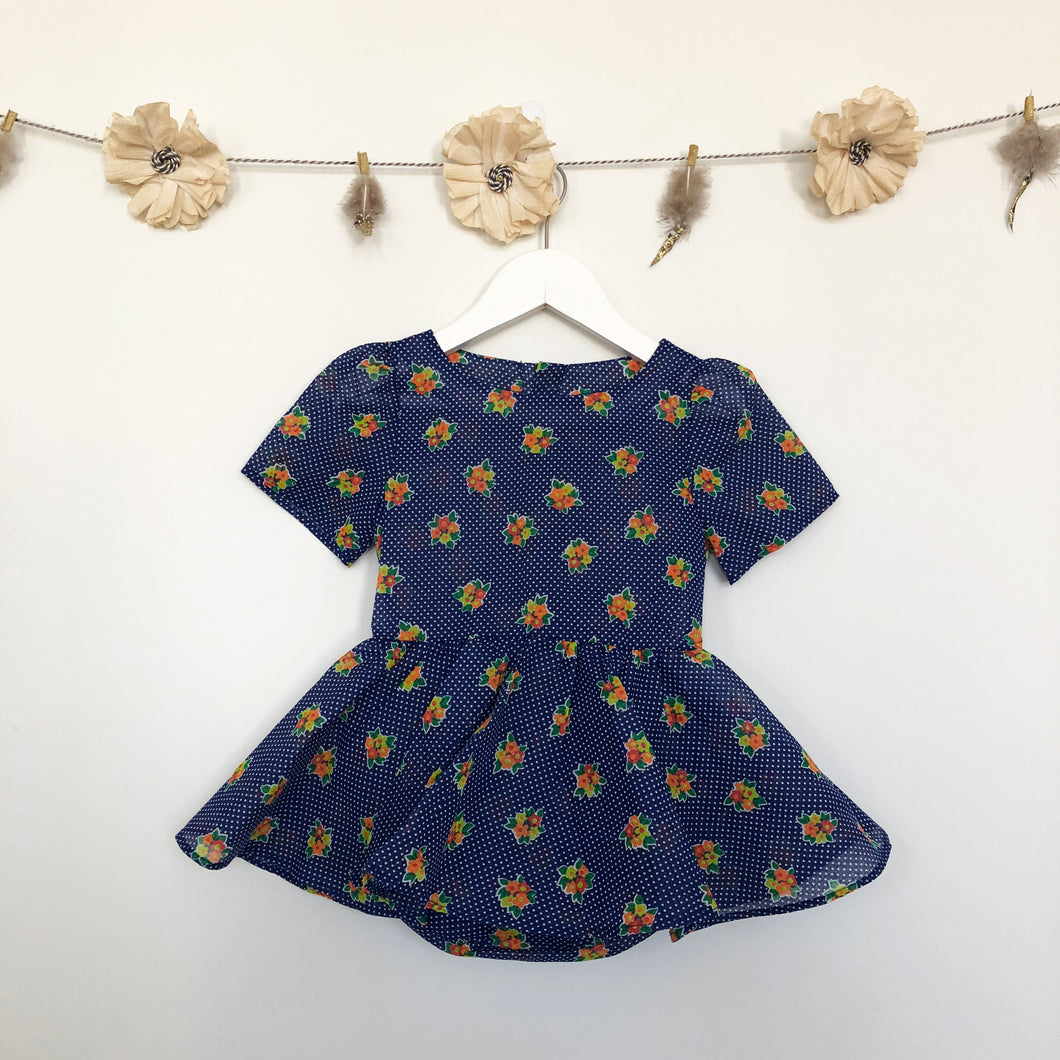 vintage sheer navy floral dot dress - 2 x 2t