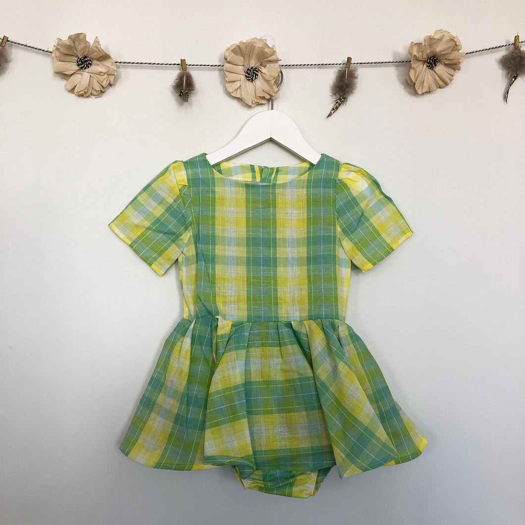 vintage lemon lime plaid dress - 2 x 3t