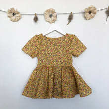vintage yellow ditsy floral dress - 2t