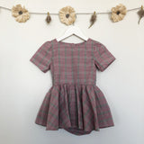 vintage textured pink plaid dress - 3t