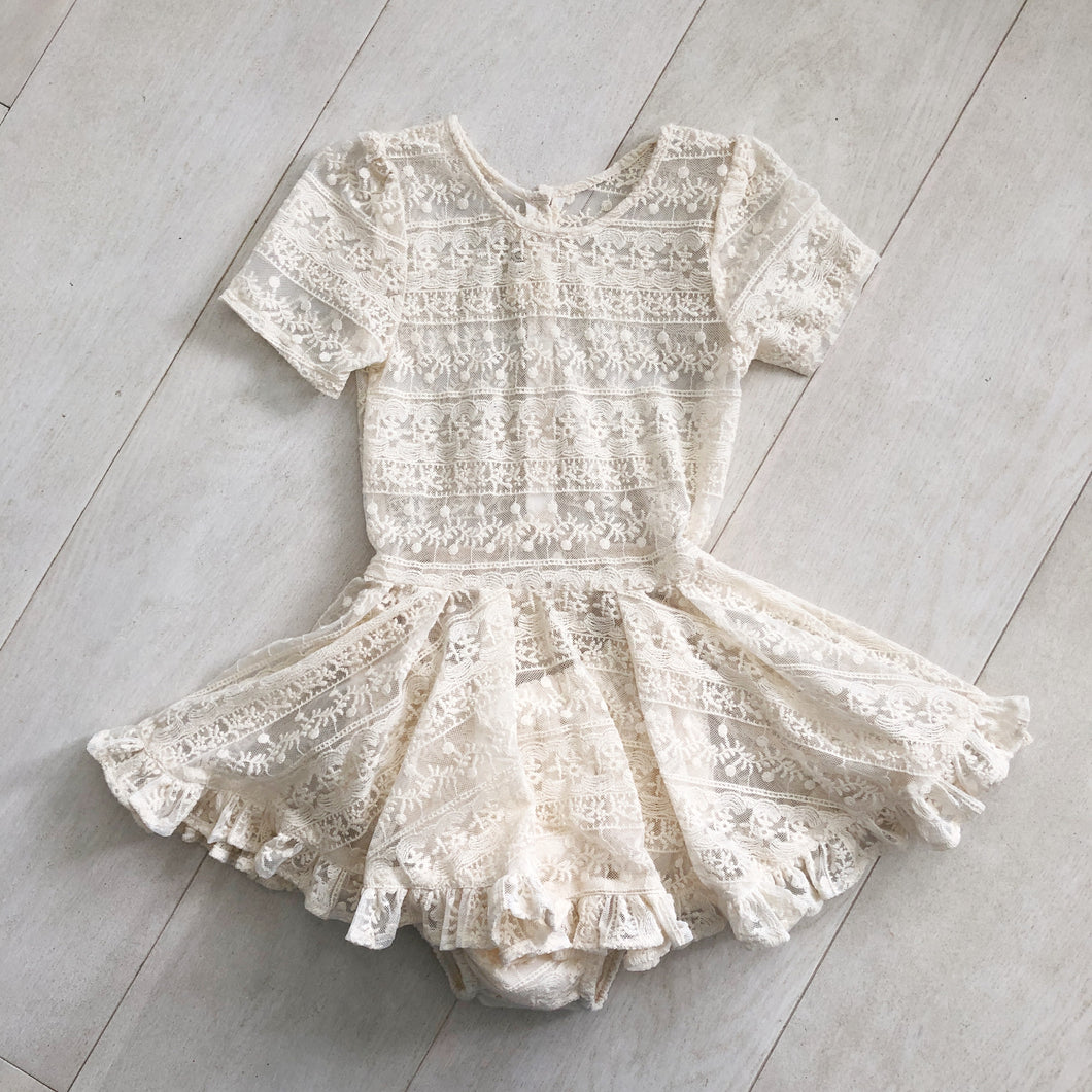 ivory lace short sleeve dress