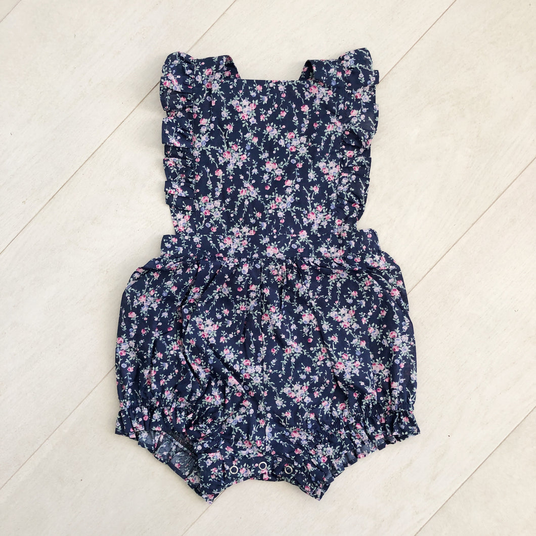 navy floral bubble romper