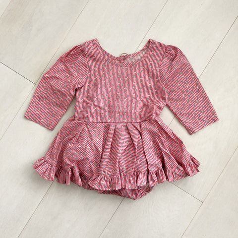 vintage red floral stripe dress 2t