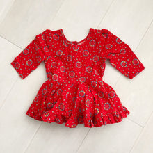 vintage red wreath dress 2t