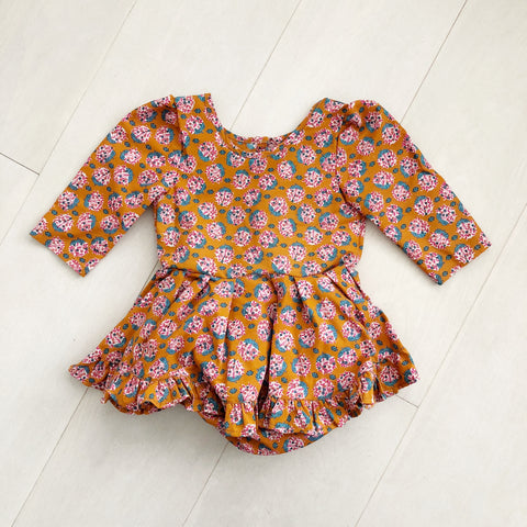 vintage mustard bouquet dress 2t