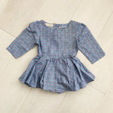 vintage blue floral stripe dress 2t
