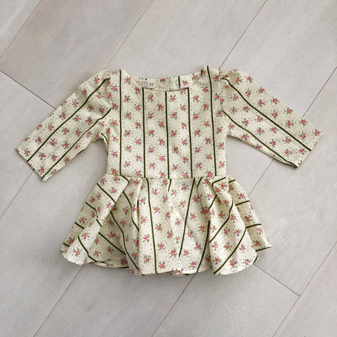 vintage olive floral stripe dress 2t