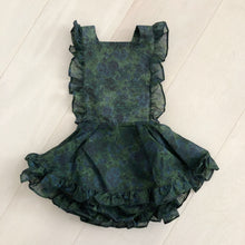 vintage semi-sheer green garden pinafore 3t