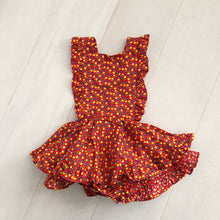 vintage red floral pinafore 3t