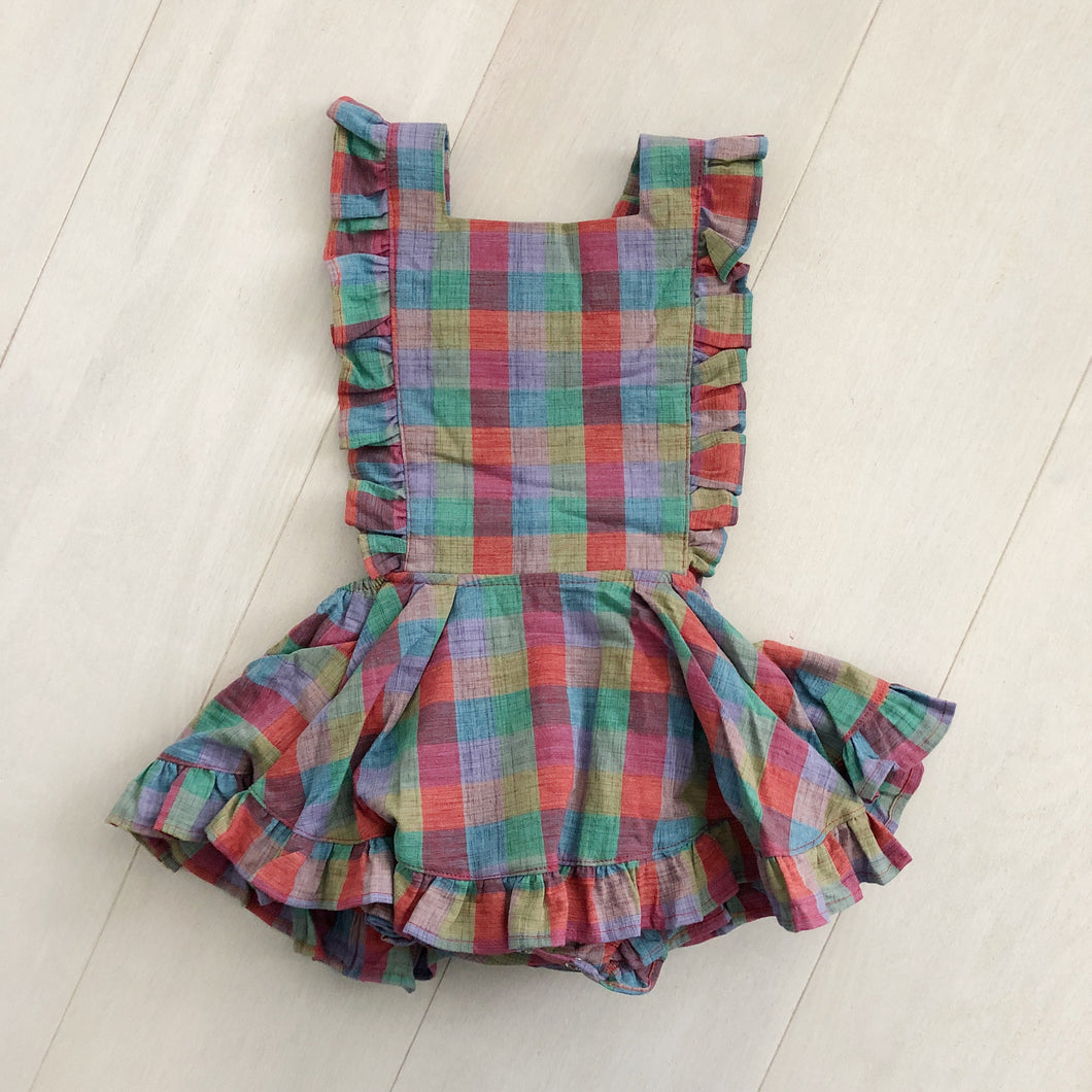 vintage fall plaid pinafore 3t