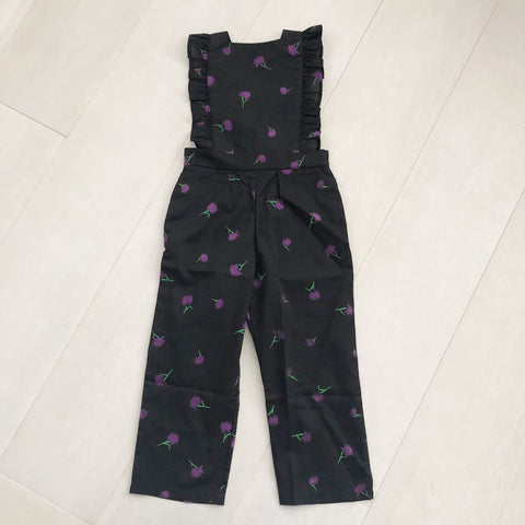 vintage purple flocked floral jumpsuit 3t