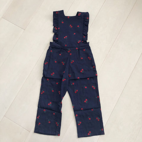vintage navy flocked floral jumpsuit 3t