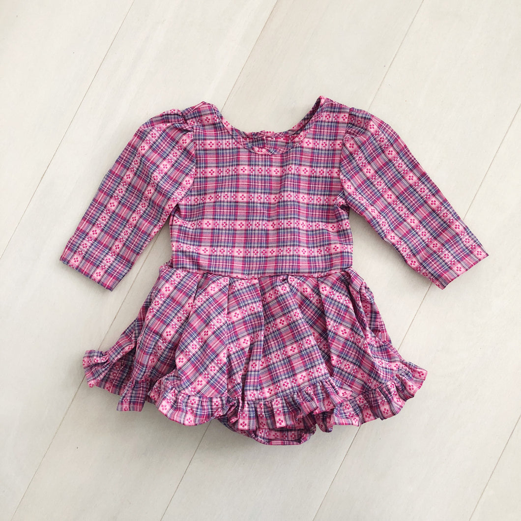 vintage floral plaid dress 3t