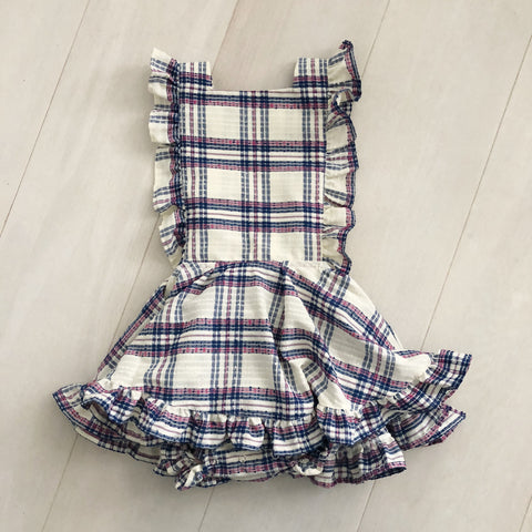 vintage textured plaid pinafore 4t