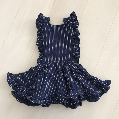 vintage navy swiss dot pinafore 4t