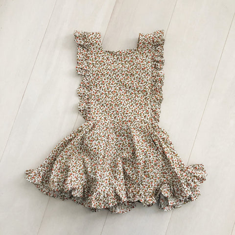 vintage fall foliage pinafore 4t