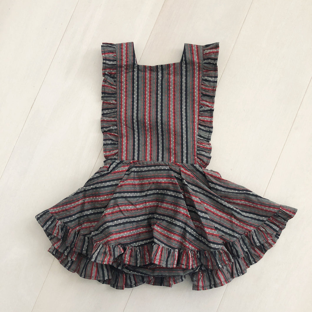 vintage textured stripe pinafore 4t