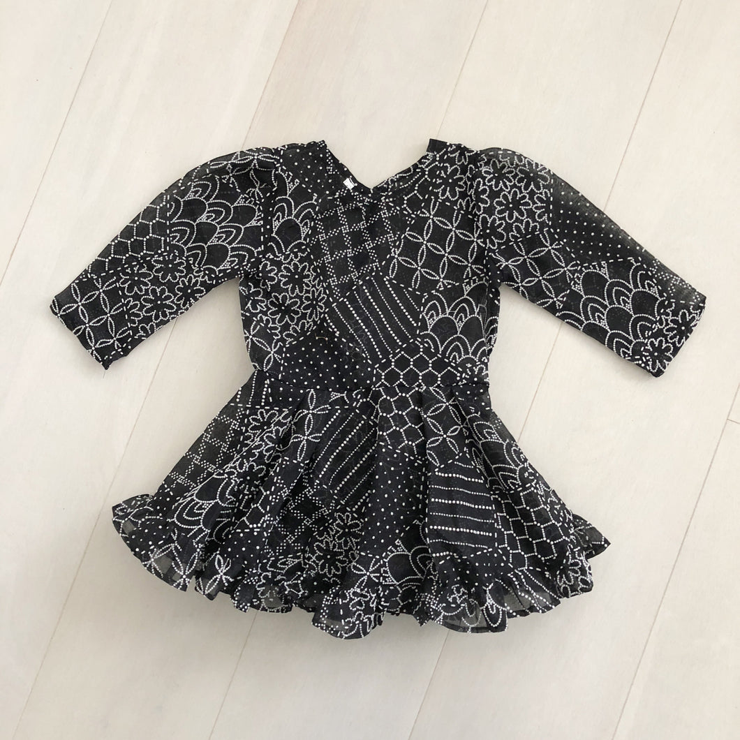 vintage flocked domino dress 4t