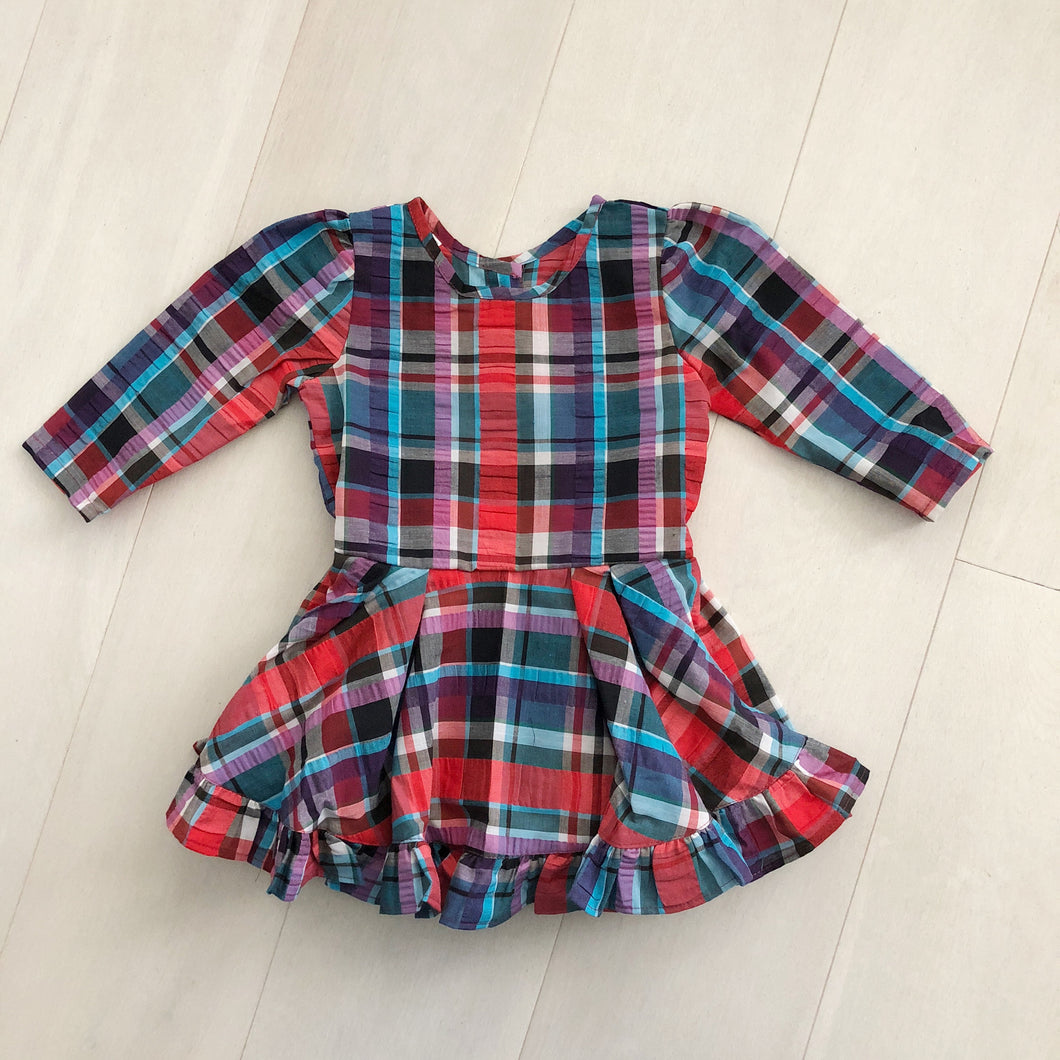 vintage seersucker plaid dress 4t