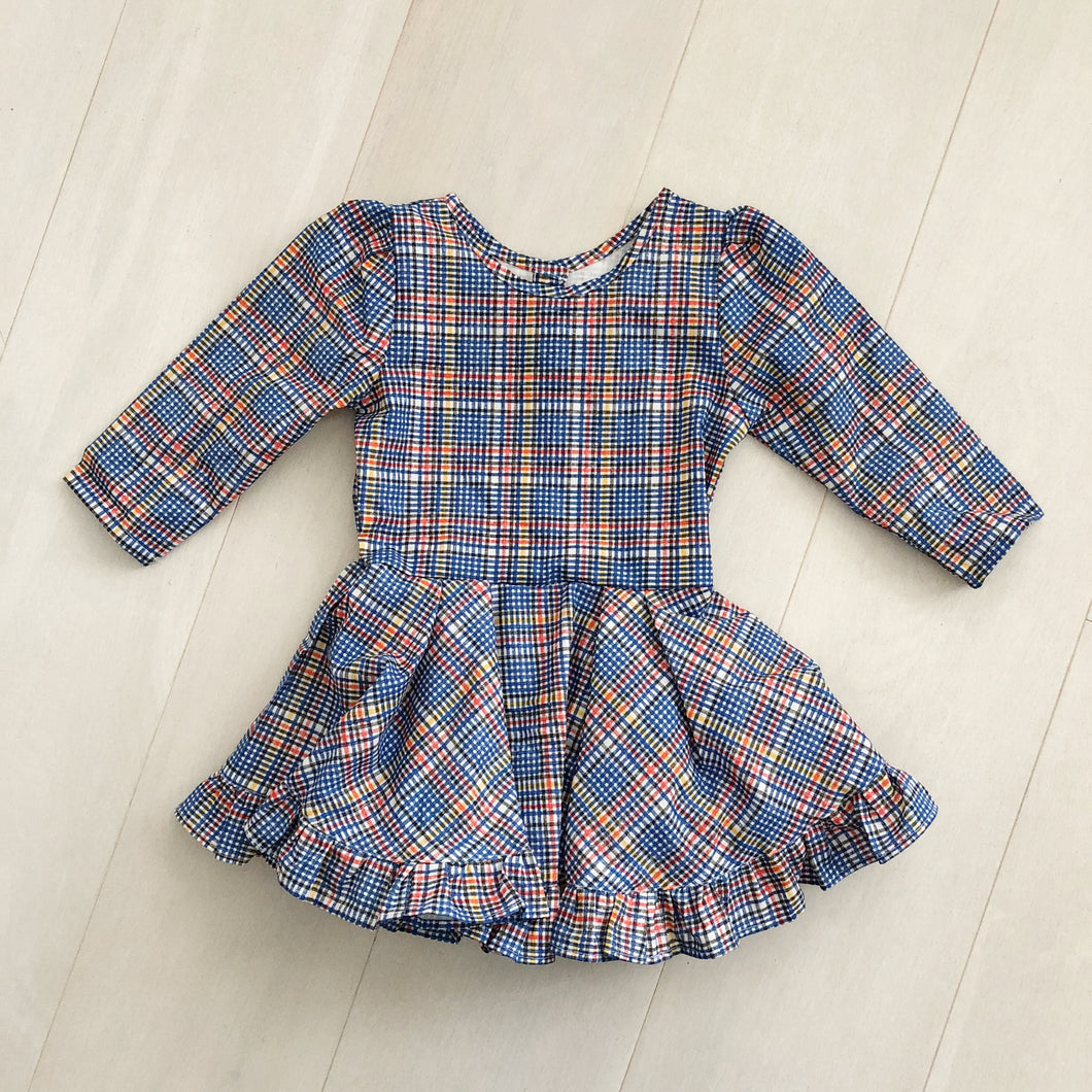 vintage blue plaid dress 4t