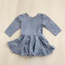 vintage blue floral stripe dress 4t