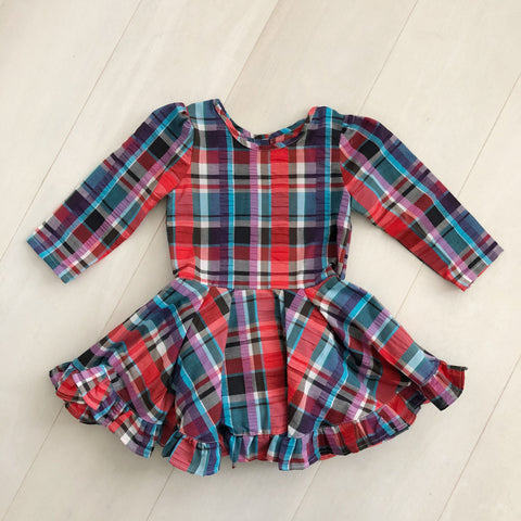 vintage seersucker plaid dress 5t