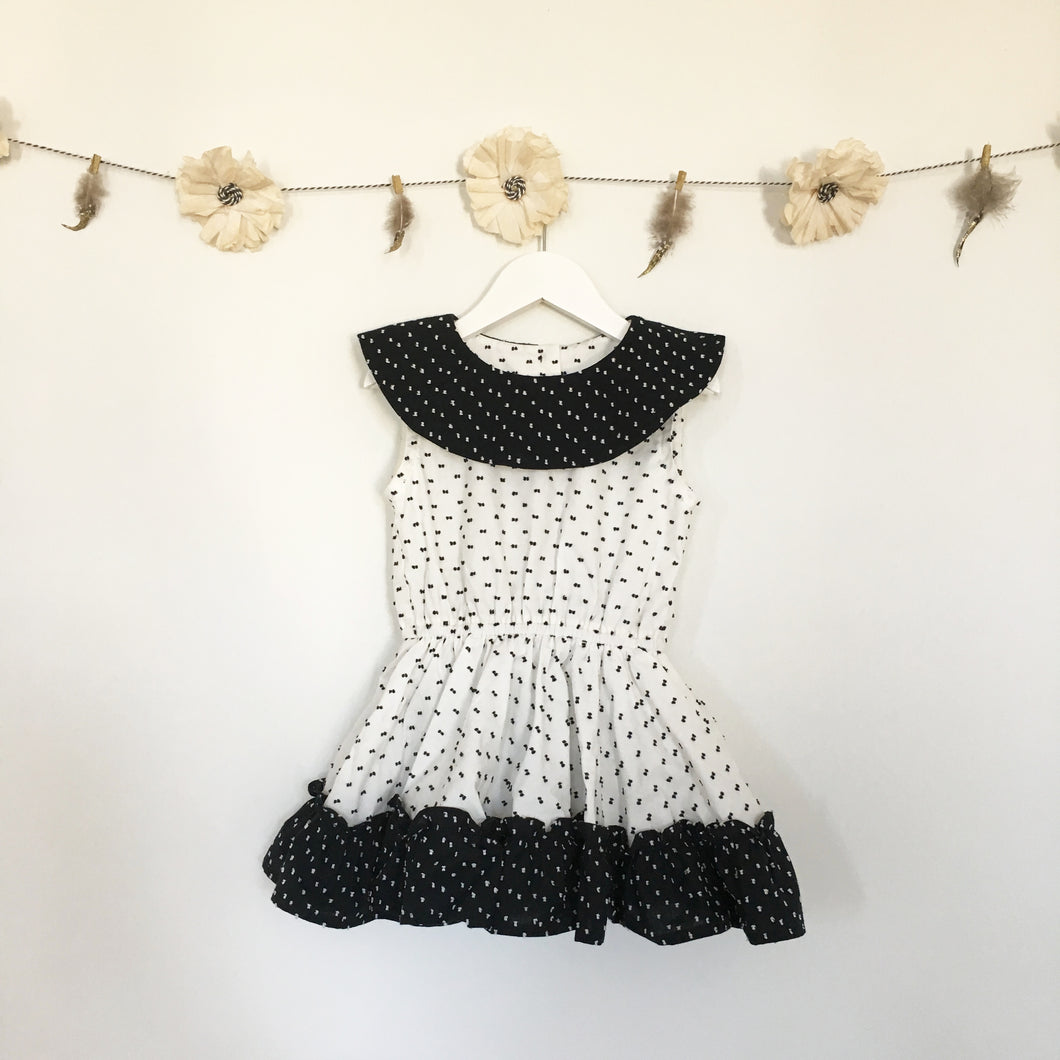 white + black swiss dot round neck dress
