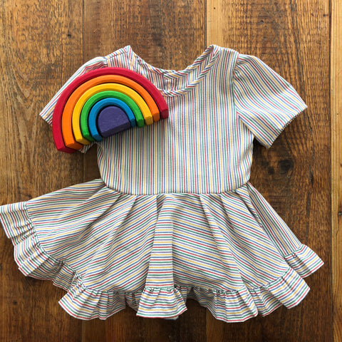 vintage rainbow seersucker dress