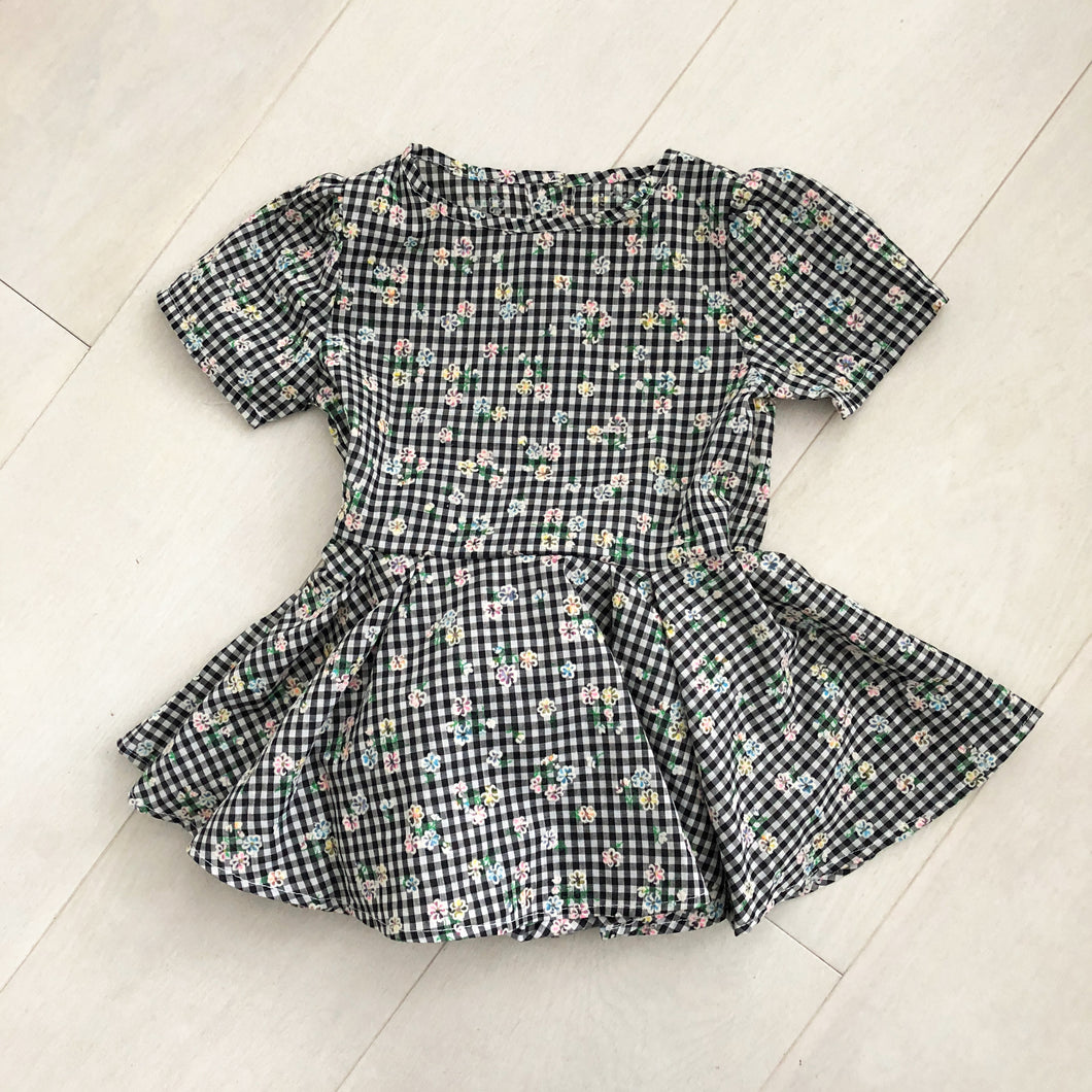 vintage flocked gingham dress 2t