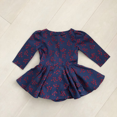 vintage flocked flowers dress 3t