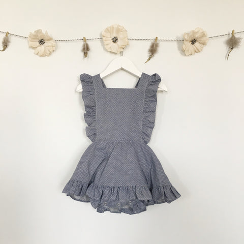 chambray dot pinafore