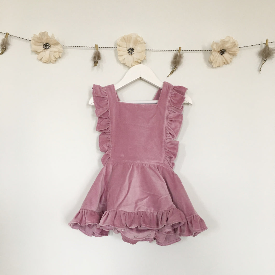 rose velvet pinafore