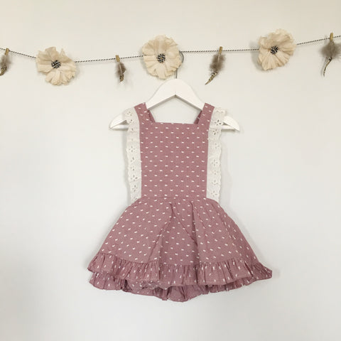 rose swiss dot + vintage trim pinafore