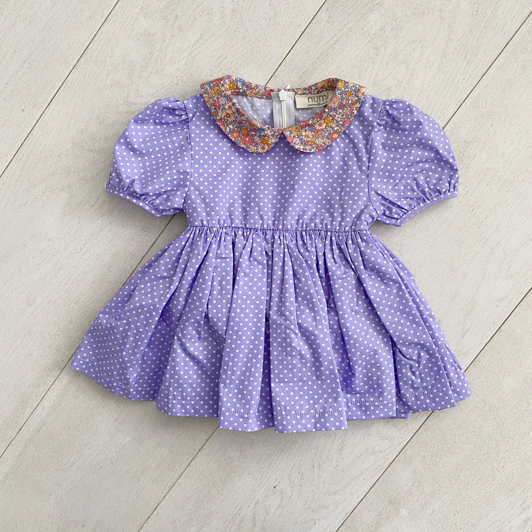 lavender dot peter pan dress