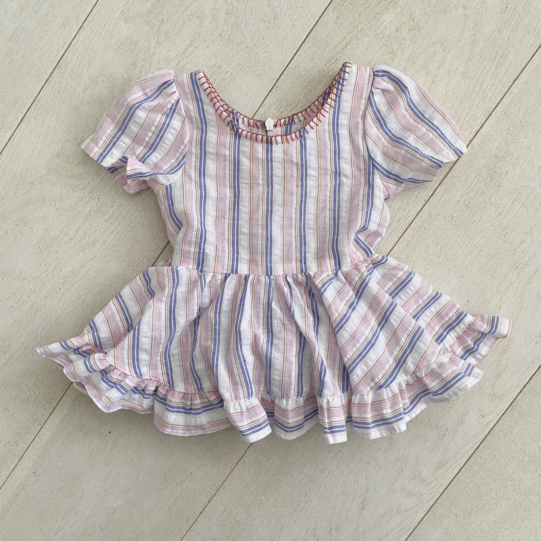 striped seersucker ruffle dress