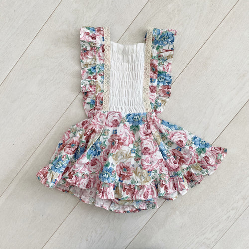 floral smocked pinafore