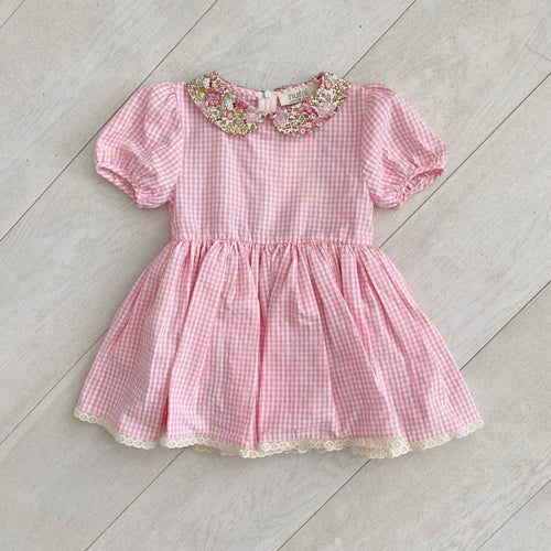 pink gingham hello kitty peter pan dress