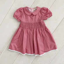 rose dot smocked peter pan dress
