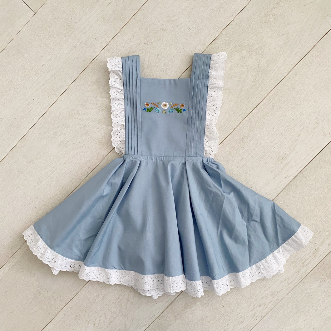pleated + embroidered pinafore