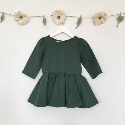 hunter green swiss dot 3/4 sleeve dress