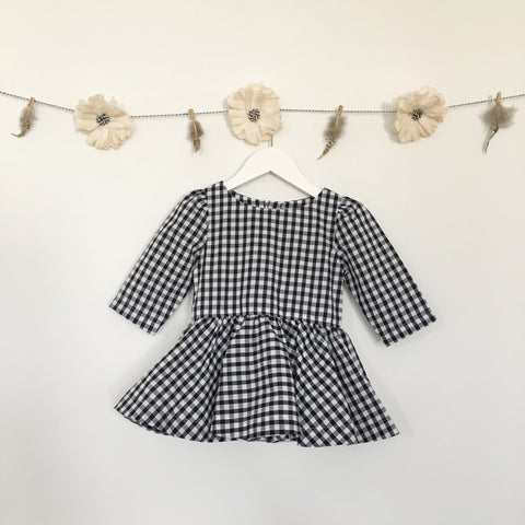 gingham 3/4 sleeve dress