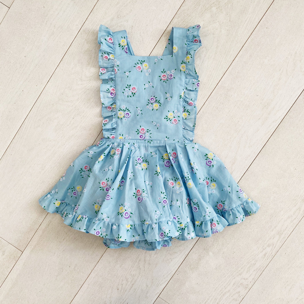 dusty blue floral flocked pinafore