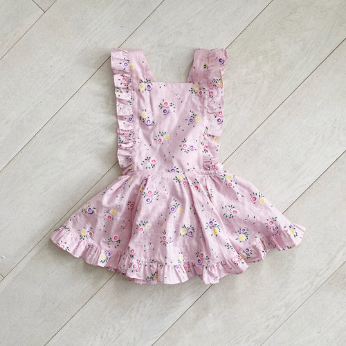 pink floral flocked pinafore