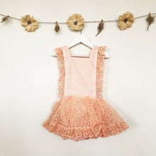 vintage blush flocked floral pinafore